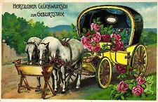 Geburtstag, Kutsche mit Rosen, Pferde, 1916