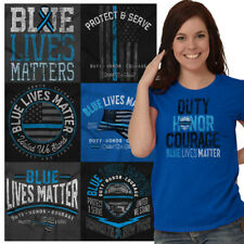 Police Officer Tees Graphic T-Shirts For Ladies Womens Blue Lives Matter Tshirts