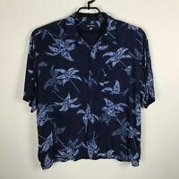 Puritan Hawaiian Shirt Mens Size 2XL Rayon Blue Floral Button Up Short Sleeve