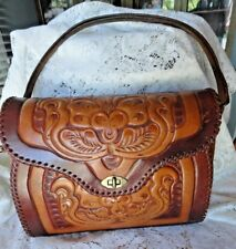 Vintage Brown Leather Tooled Floral Tote Large Shoulder Bag Purse Patricia Nash