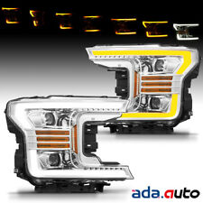 2018 2019 Ford F150 F-150 LED Tube Chrome Sequential Signal Projector Headlights