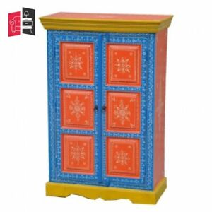 Pandora Hand Painted Cabinet Orange Blue Floral (MADE TO ORDER)