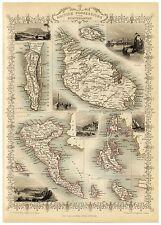 Old Vintage Map of Malta Corfu richly illustrated Tallis 1851