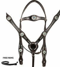 WESTERN SHOW HORSE TACK SET BLING BLUE BARREL RACING SILVER BRIDLE HEADSTALL