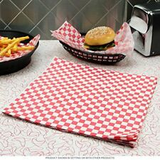 More details for red gingham greaseproof paper 25 x 20cm sheets burger chips food wrap antigrease