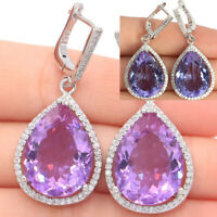 43x19mm Big Gemstone 20x15mm Color Changing Alexandrite & Topaz Silver Earrings