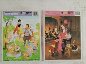 Lot of 2 Golden Frame-Tray Walt Disney's Beauty and the Beast 4147B, Snow White