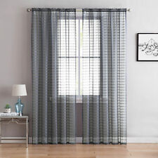 "(2) Silver Sheer Rod Pocket Window Curtain Panels: 84"" L  Plaid/Check Design"