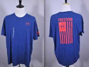 New Under Armour Freedom Flag T-Shirt Shirt Blue Men's 3XL