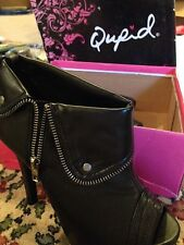 Qupid Ankle Boots Black Fringe 7.5 Zipper Gaze Bike Womans New