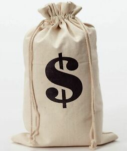 Money Bag Sack - Costume Accessory Double Sided Halloween Bank Robber Gold Prop