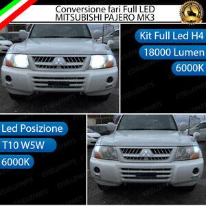 CONVERSIONE FARI LED MITSUBISHI PAJERO MK3 III LED H4 + LED POSIZIONE T10 6000K