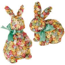 Raz Imports Easter Decor Dried Flower Bunny Rabbits Set of 2   #3853312 ~NEW~