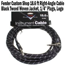 Fender Custom Shop 18.6 ft Black Tweed Instrument Guitar Cable Right Angle NEW