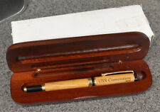 USS CONSTITUTION WOOD FOUNTAIN PEN & CASE IRIDIUM POINT GERMANY