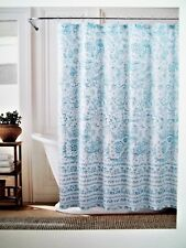 "TOMMY HILFIGER Shower Curtain KINGSROAD PAISLEY 72"" X 72"", White & Teal, NEW"