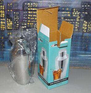 Bar Shaker 3 Piece Set from WINCO Bartender 10 Ounce Professional Mixer