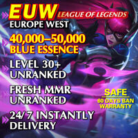 EUW 40K+ League of Legends LoL Account Level 30 Unranked SMURF 40000 - 50000 BE