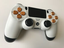 Custom PS4 Controller White With Gold Aluminium Bullet Buttons - (75)