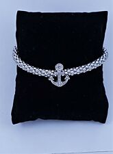 Nautical Silver Popcorn Chain Anchor Charm with Diamante Stacking Bracelet