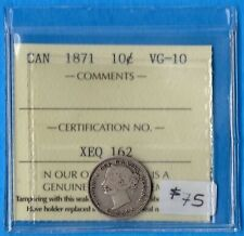 Canada 1871 10 Cents Ten Cent Silver Coin - ICCS VG-10
