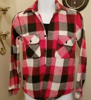 VTG BIG MIKE HEAVY Flannel Shirt 70's Red White Black PLAID Small Made in USA