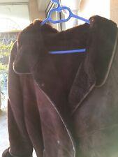 veste peau retournée marron foncé doublure fourrure synthetique t 42/44