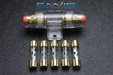 (1) AGU FUSE HOLDER W/ (5) 30 AMP 4 6 8 10 GAUGE IN LINE GLASS AWG WIRE GOLD