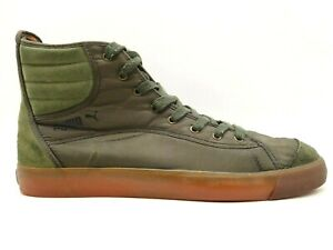 Puma Brown Green Nylon Leather Lace Up High Top Fashion Sneakers Shoes Men's 13