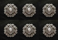 Set of 6 Western Saddle Antique Horse Shoe Berry Conchos 1 inch screw back