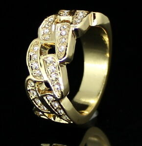 Mens Cuban Link Pinky Ring Icy Cz Band 14k Gold Plated Hip Hop Jewelry