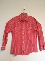 Vintage Men's Pearl Snap Shirt Ely Plains Brand Red Plaid  17-35 Front Pocket