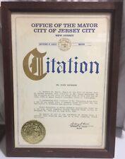FLOYD PATTERSON Vintage 1986 Citation Award Mayor Anthony R. Cucci Jersey City