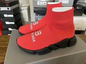 Balenciaga Recycled Speed Trainer Sneaker 'Red Black' Sz 40  / 7