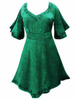 LONG green MEDIEVAL PRINCESS plus size TOP 10 12 14 16 18 20 22 24 26 28 30 32