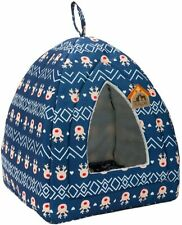 New listing Self-Warming 2 In 1 Foldab Comfortab Triang Cat Bed Tent House, Navy Blue