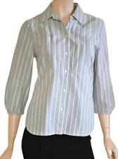 SPORTSCRAFT SZ 8 WOMENS Grey & White Striped 3/4 Bishop Sleeve Blouse Shirt Top