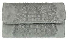 Croc Print Genuine Suede Clutch Bag Italian Leather Evening Womens Handbag
