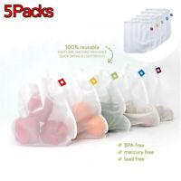 5 Packs Reusable Mesh Bag Fruit Vegetable Net Bag Polyester Storage Organizer