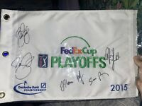 2015 DeutscheBank Fed-Ex Cup Signed Flag Rickie Fowler Day J.Thomas Mickelson!!