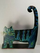 """Vtg 1997 Midwest of Cannon Falls """"Flat Cat"""" Door Stop, Hand Painted, New/Unused"""