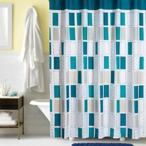 Blue White Geometric Rectangle Farmhouse Cute Pretty Fabric Shower Curtain