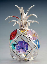 """SWAROVSKI COLORED CRYSTAL ELEMENTS """"PINEAPPLE"""" FIGURINE SILVER PLATED"""