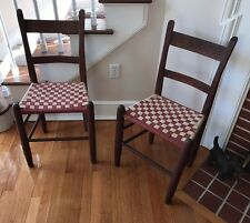 Antique Oak Thumb-Back Chairs (pair) w/ Woven Checkerboard Seats, Exc Cond!