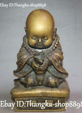 Old Buddhism Temple Pure Bronze Monk Buddha Bead Encens Blessing Incense Burner