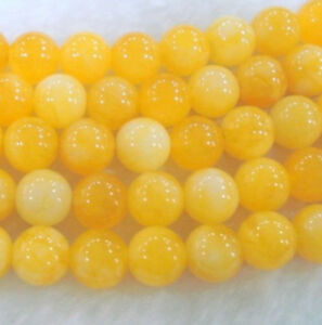 """Natural 8mm Yellow Chalcedony Gemstone Loose Beads 15"""""""