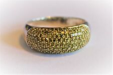 1 Cttw Yellow Diamond 9mm Wide Dome Ring in Sterling Silver