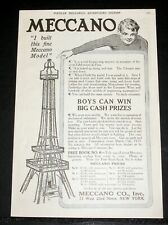 1914 OLD MAGAZINE PRINT AD, MECCANO BUILDING SETS, BUILD THE EIFFEL TOWER MODEL!