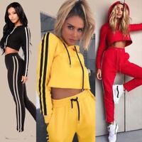 2Pcs Sexy Hoodies Tracksuit Suit Set Women Sport Sweatshirt Crop Tops + Pants