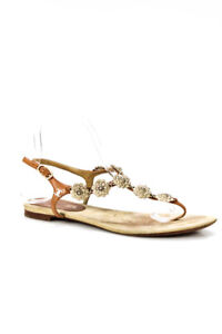 Chanel Womens Camellia Leather Ankle Strap Sandals Gold Brown Size 39.5 9.5